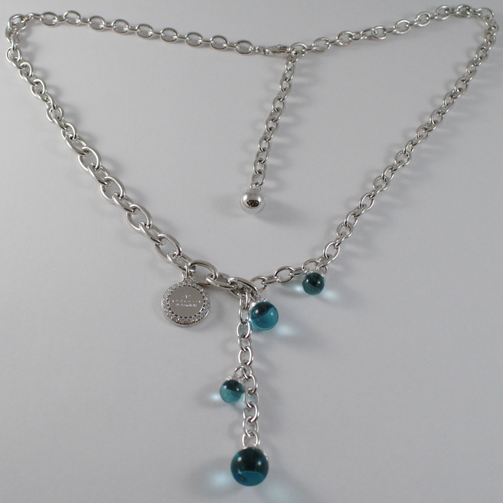 WHITE GOLD BRONZE REBECCA OVAL LARIAT NECKLACE BLUE BALL BHSKBT05 MADE IN ITALY
