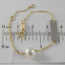 18K YELLOW GOLD BRACELET 5.7 INCHES WITH WHITE PEARL AND PLATE MADE IN ITALY
