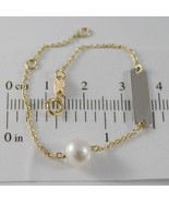 18K YELLOW GOLD BRACELET 5.7 INCHES WITH WHITE PEARL AND PLATE MADE IN I... - $94.53