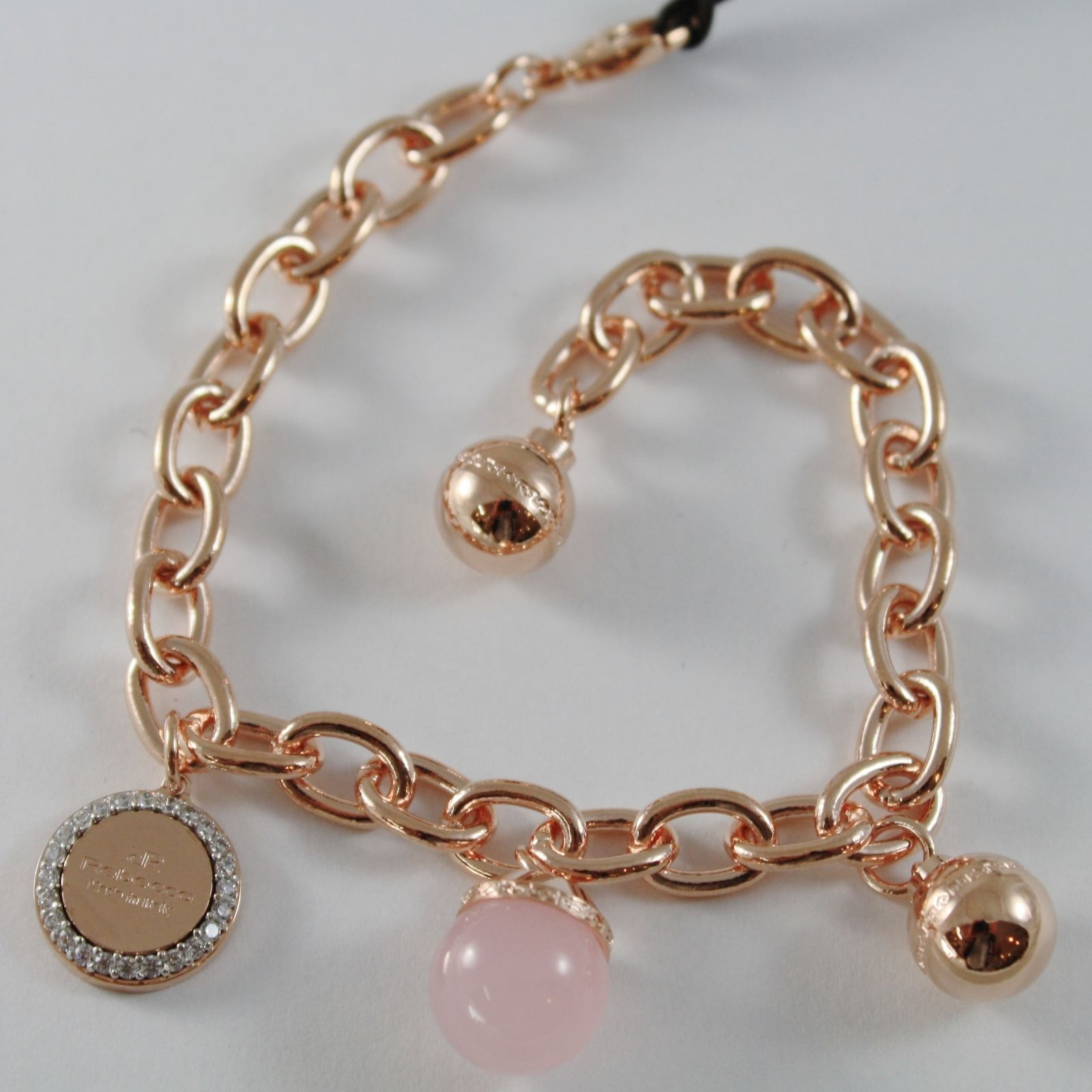 ROSE GOLD PLATED BRONZE REBECCA OVAL BRACELET PINK STONE BHSBRQ04 MADE IN ITALY