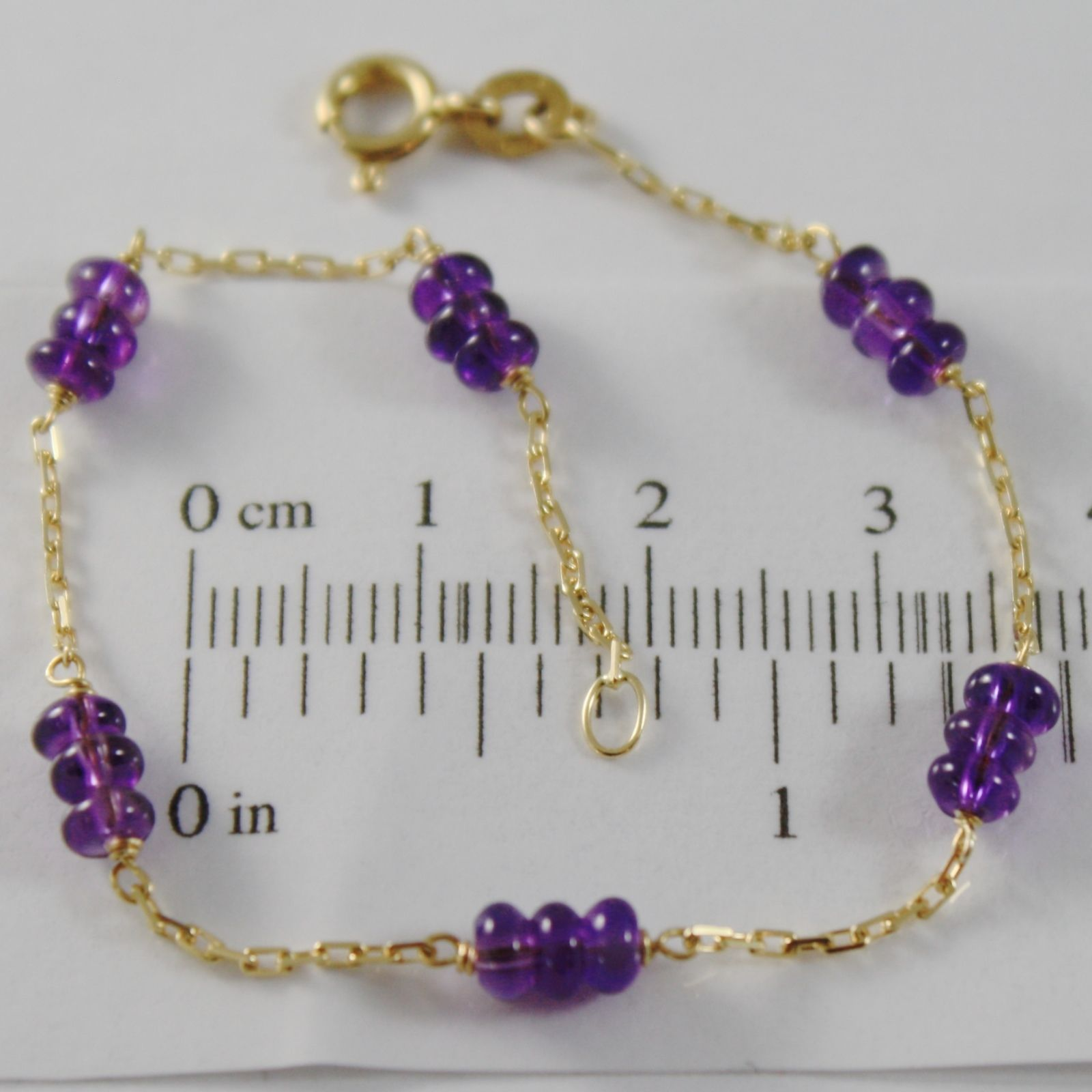 18K YELLOW GOLD BRACELET 7.1 INCHES SQUARED CHAIN & AMETHYST, MADE IN ITALY