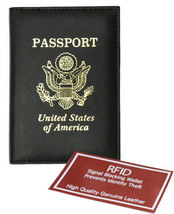 Black USA PASSPORT COVER Travel Leather ID Credit Card Wallet  Holder RF... - $10.88