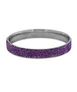 Silver Tone Fashion Bangle Bracelet w/ Purple C... - $16.87