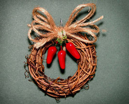 Country Christmas Ornament of Grapevine and Chili Peppers - $5.95