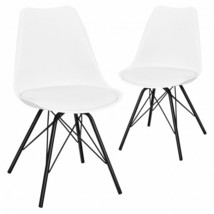 Set of 2 Mid Century Modern Side Chairs with PU Seat-White - Color: White - $169.42