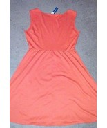 Old Navy sleeveless stretch knee-length dress orange elastic waist womens L - $18.49