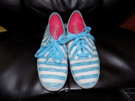 Keds Champion Washed Stripe Lace-Up Sneakers in Turquoise Size 8 Women's... - $42.99