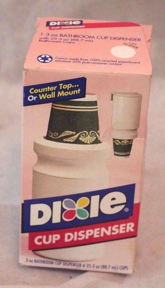 Vintage Dixie Wall Mount Bathroom Cup Dispenser Refill