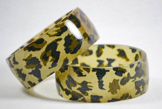 Leopard Fabric/Resin Bangle
