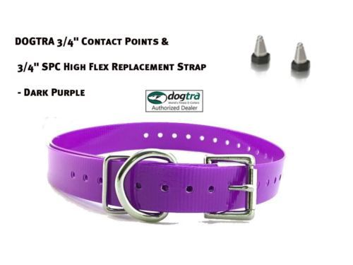 """DOGTRA 3/4"""" Contact Points & 3/4"""" SPC High Flex Replacement Strap - Dark Purple"""