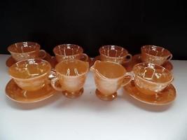 Fire King Peach Lustre Lot 14 Laurel Leaf Tea Set Cups Saucers Creamer S... - $69.99