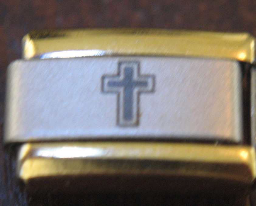 Two Toned Cross Italian Charm Link 9 MM
