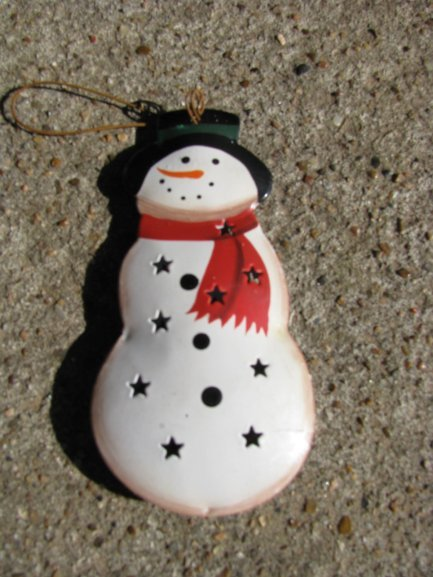Or snowman metal christmas ornament holiday