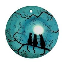 Halloween Scary Evil Horror Black Cats Full Moon Procelain Ornament Chri... - $3.99