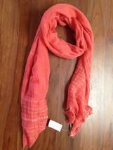 Ann Taylor Scarf Shimmer Orange Coral Textured Fringe Hem Soft New - $24.99