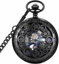 Steampunk Blue Hands Scale Mechanical Skeleton Pocket Watch with Chain A... - €30,54 EUR