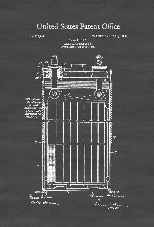 Edison alkaline battery patent 1906 edison patent for Edison home show