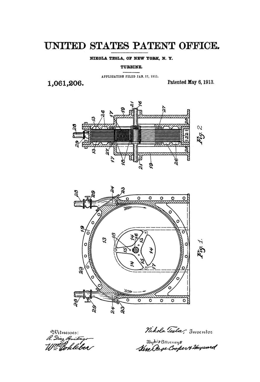 Tesla Turbine Patent 1913 - Patent Prints, Tesla Invention, Tesla Patent, Nilola