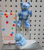 Avon Kids Gingham 3 Teddy Wall Hooks & 3 Door Stops Blue for Boy total of 6 - $14.01