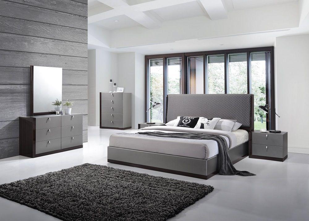 J&M Sorrento Queen Size Bedroom Set 5pc. Chic Modern Style Design