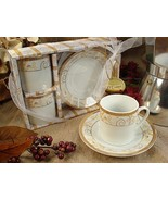 25 Gold Damask Porcelain Espresso Coffee Cup Bridal Wedding Party Thank ... - $90.20
