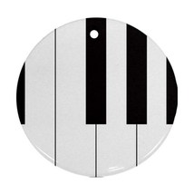 Round Ornaments - Piano Keyboard Procelain Ornament (Round) Christmas - $3.99