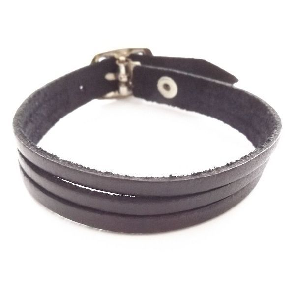 BLACK QUALITY THREE STRAP BANDED LEATHER BRACELET CUFF WITH BUCKLE FASTENER