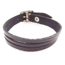 BLACK QUALITY THREE STRAP BANDED LEATHER BRACELET CUFF WITH BUCKLE FASTENER - $10.08