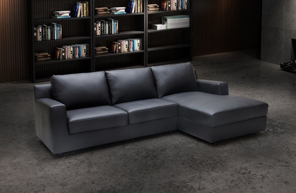 J M Elizabeth Premium Italian Leather Sectional Sleeper Modern Right Hand Facing Living Room