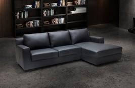 J&M Elizabeth Premium Italian Leather Sectional Sleeper Modern Right Hand Facing