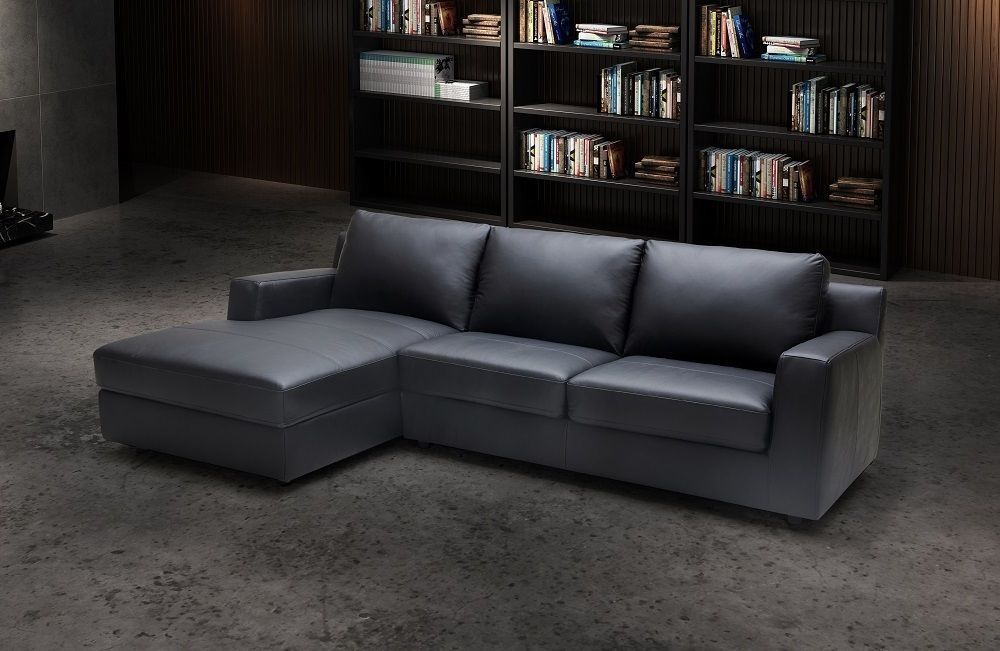 J&M Elizabeth Premium Italian Leather Sectional Sleeper Modern Left Hand Facing