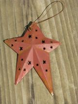 WD1382R - Red Metal Star Christmas ornament - $1.95