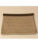Christian Dior Vintage Leather Canvas Portfolio Brown Flat Briefcase Zip... - $129.99