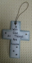 OR339 -With God All Things Possible White Metal Christmas Ornament  - $1.95