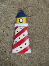 or348-Lighthouse Metal Christmas Ornament  - $1.95