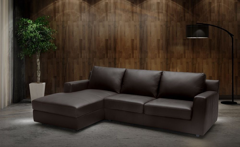 J&M Taylor Premium Italian Leather Sectional Sleeper Modern Left Hand Facing