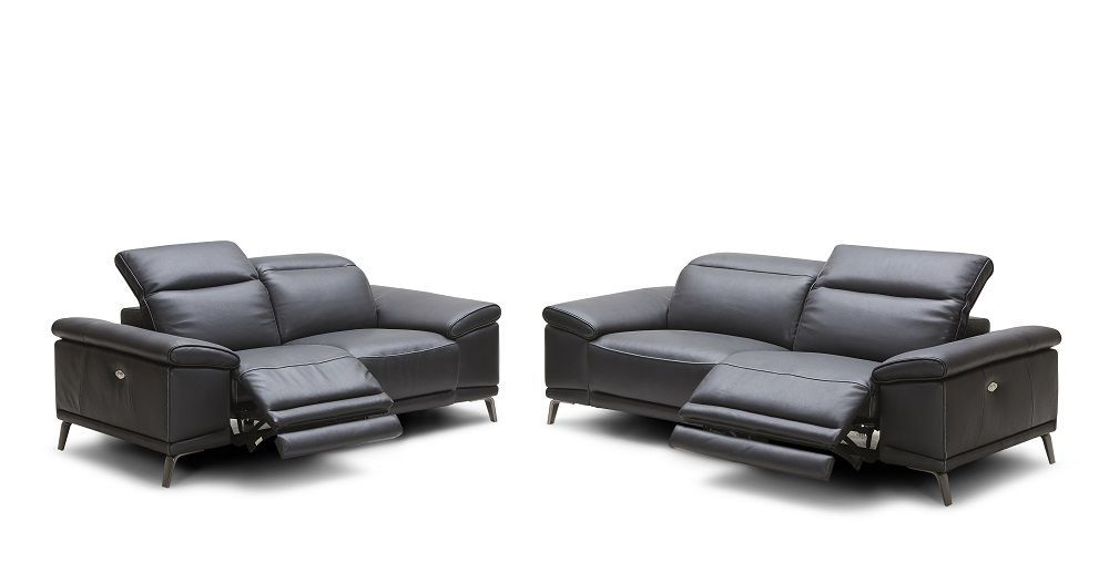 J&M Giovani Black Italian Leather Sofa Set Contemporary Modern Style