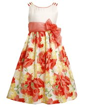 Bonnie Jean Big Girls Tween 7-16 Orange/Yellow Floral Triple Strap Social Dress