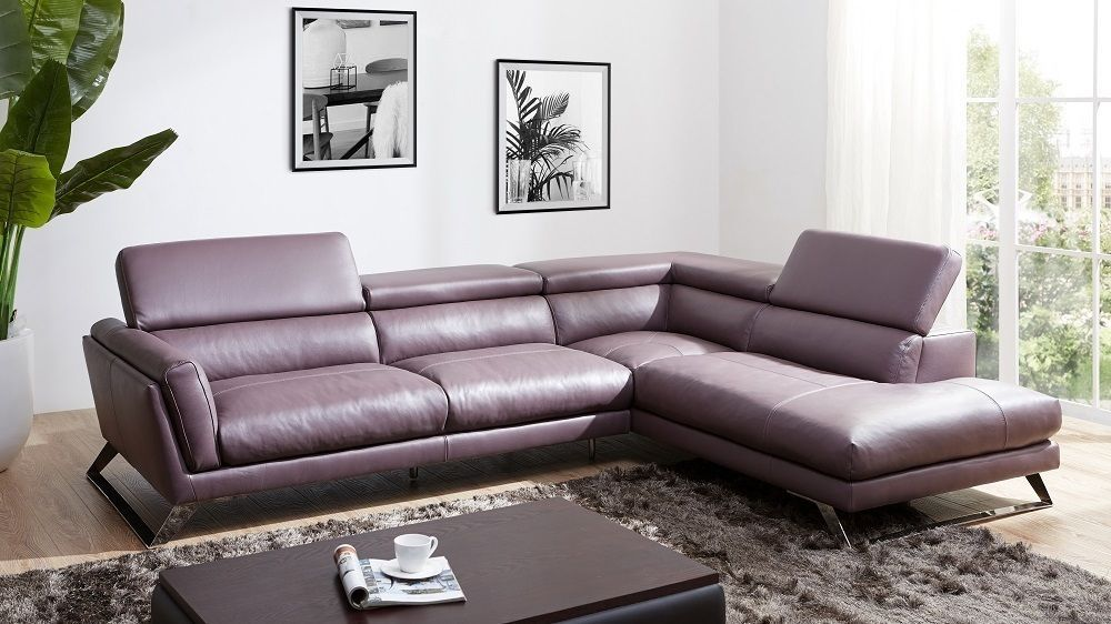 J&M Will Premium Italian Leather Sectional Chic Modern Right Hand Facing