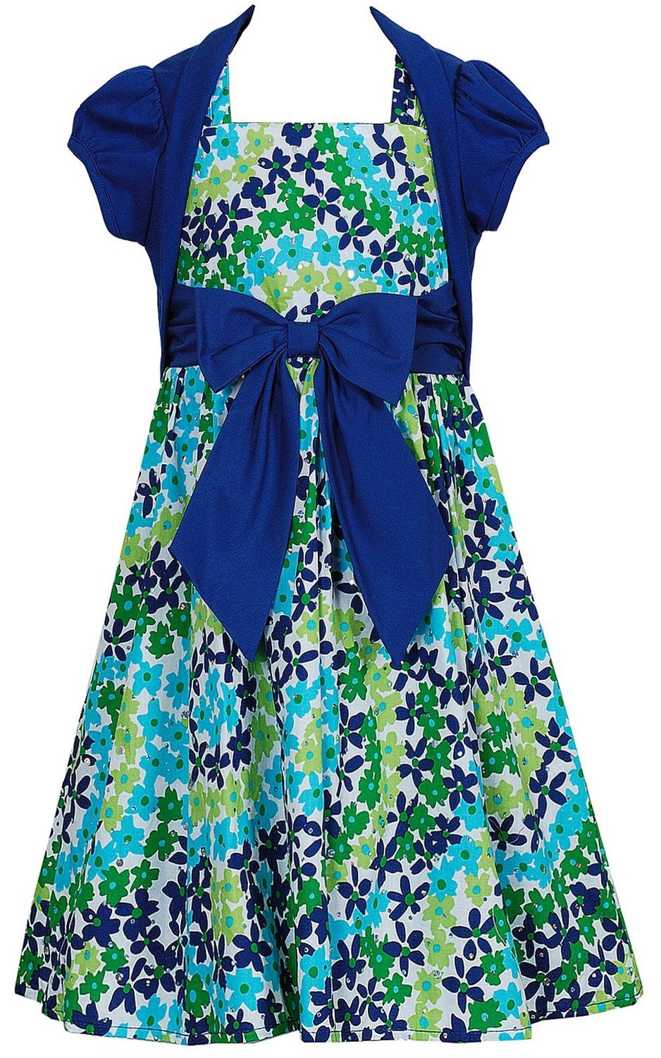 Bloome Girl Plus Size Blue/Green Bow Front Sparkle Floral Print Dress/Jacket Set