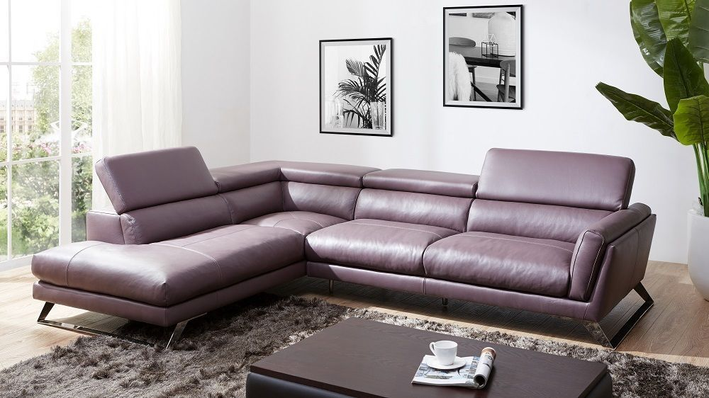J&M Will Premium Italian Leather Sectional Chic Modern Left Hand Facing