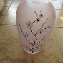 """exquisite vase approx 12"""" lavender with floral design on front  - $84.99"""