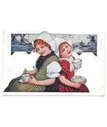 Dutch Girls Drinking from Tea Cups Delft Tiles 1909 Vintage Postcard - $7.99