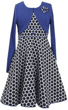 Bonnie Jean Big Girls Plus Size Royal-Blue Black Dotted Fit Flare Social Dress