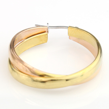 Twisted Rose & Gold Tone (Two-Tone) Polished Hoop Earrings- United Elegance image 3