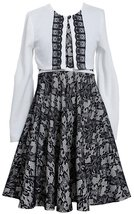 Bonnie Jean Big Girls Plus Size Ivory Black Bonded Lace Social Dress/Jacket Set