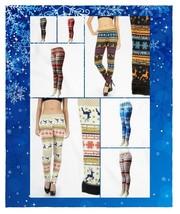 Women's Winter Snowflake Reindeer Christmas Theme Fur Lined Leggings - $8.50