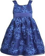 Bonnie Jean Little Girls 2T-6X Royal-Blue Sequin Bonaz Soutache Social Dress