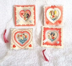 Lot of 4 Adorable Vintage Tally Cards Valentines Hearts - $9.94