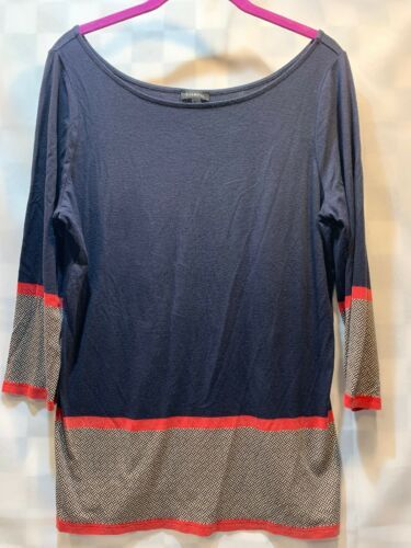 Primary image for TALBOTS Tunic Top 3/4 Sleeves Blue Red Women's Soft Shirt Size M